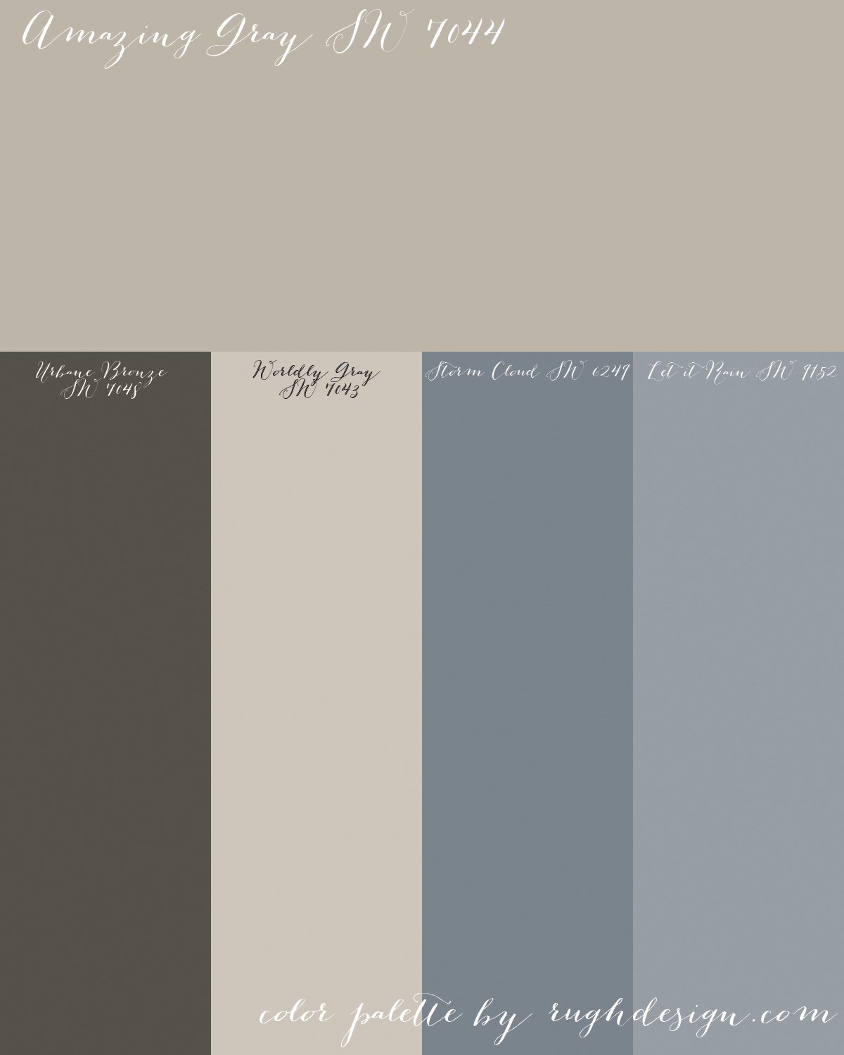 Amazing Gray Sw 7044 With A Complementary Color Scheme