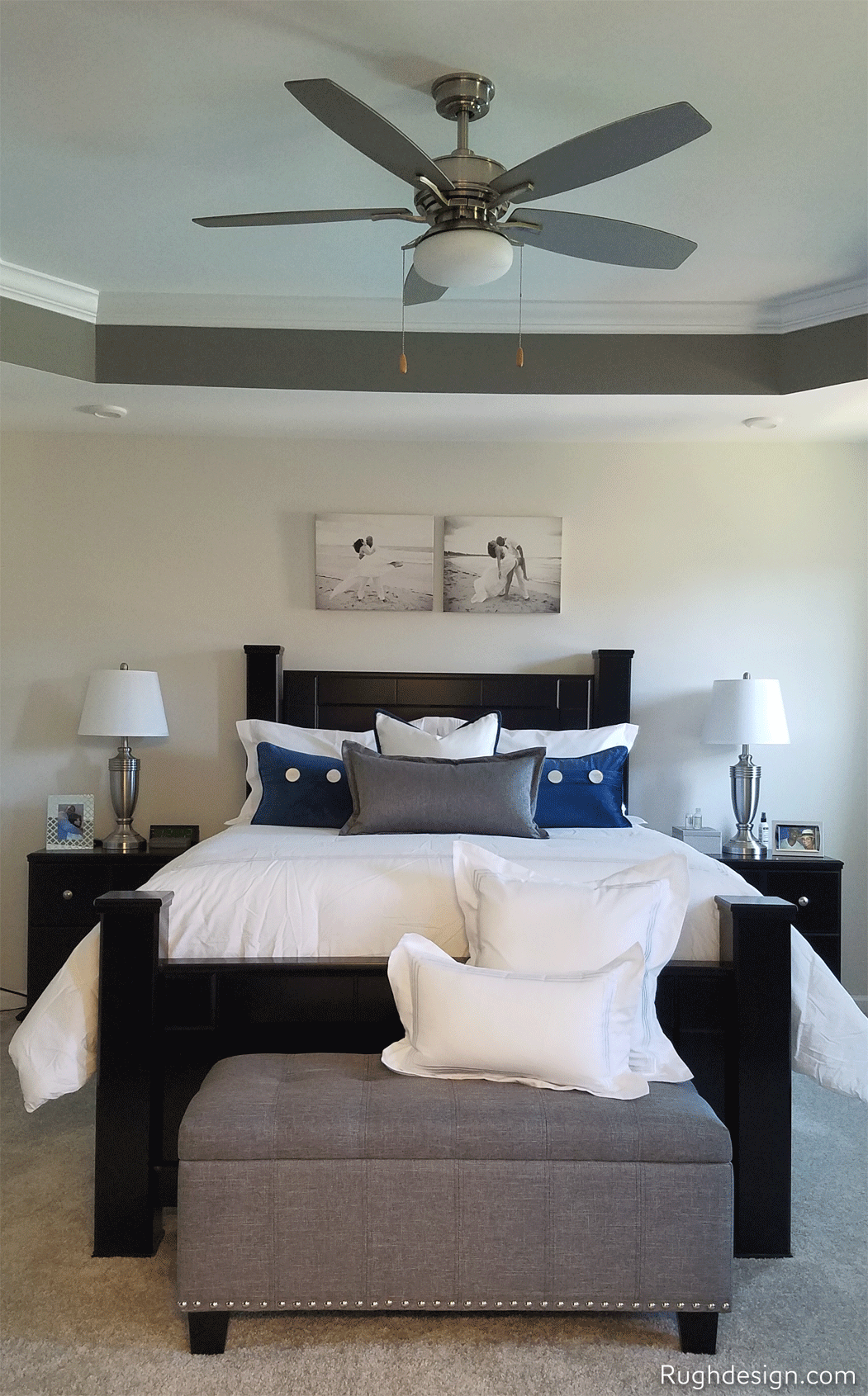 Dovetail ceiling tray with City Loft walls in bedroom
