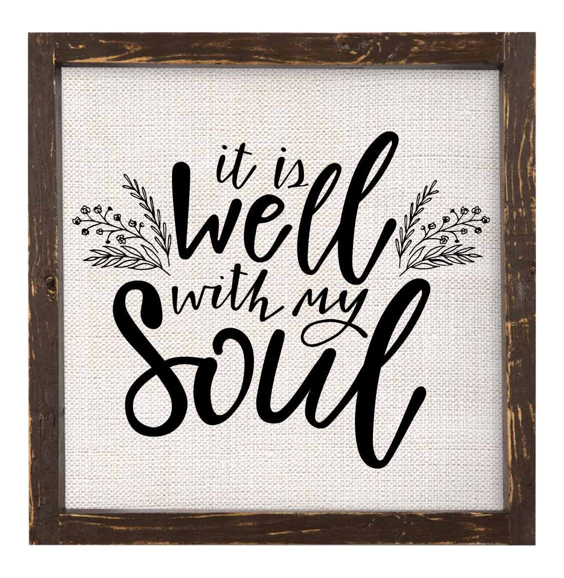 It is Well with My Soul Framed Linen Sign from Brownlow Kitchen