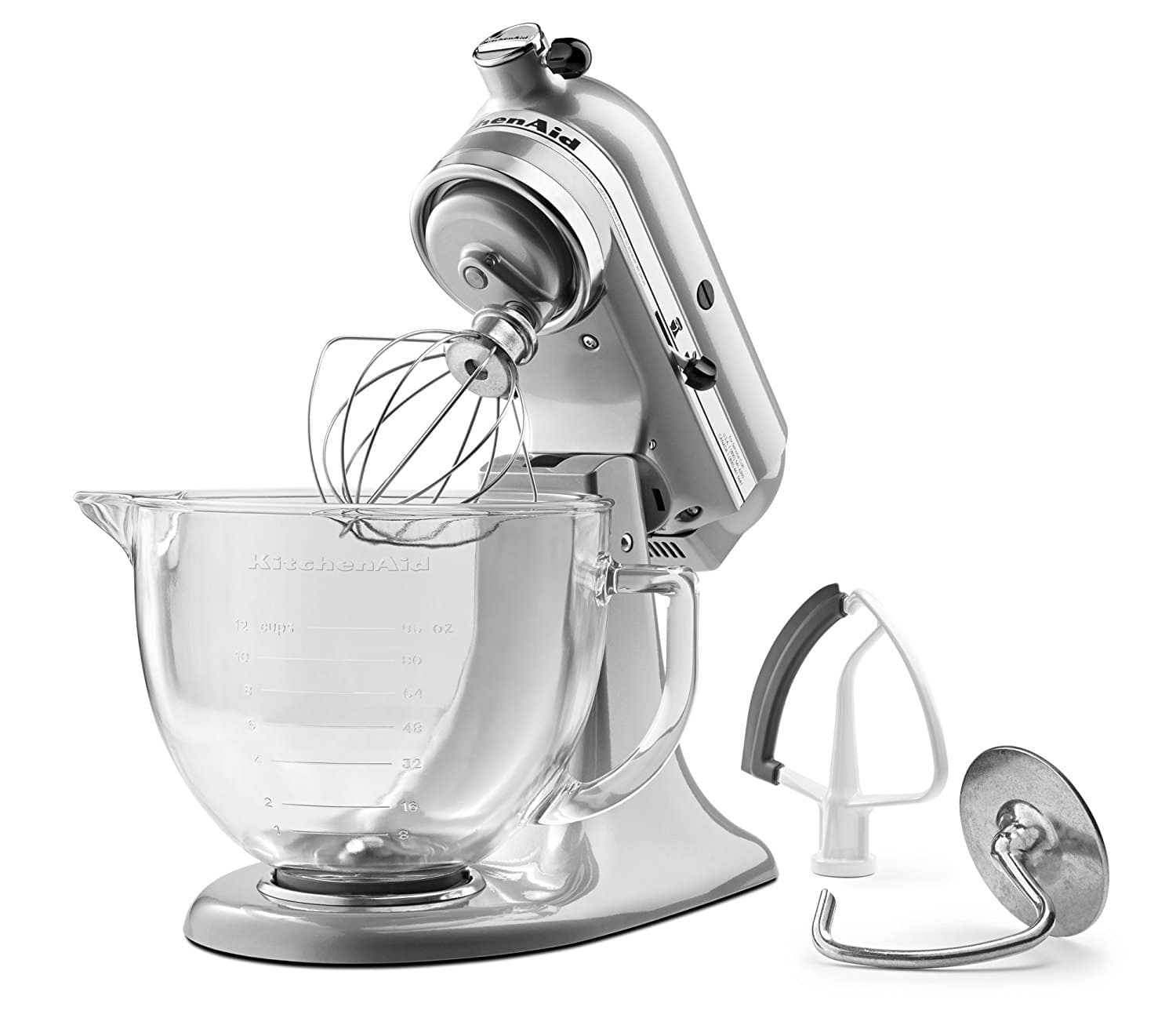 KitchenAid 5-Qt. Artisan Design Series with Glass Bowl in Frosted Pearl White