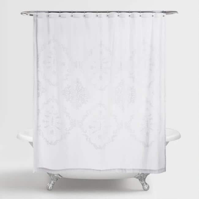 White Lilith Floral Shower Curtain