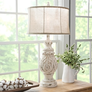 Caroline Distressed Cream Table Lamp