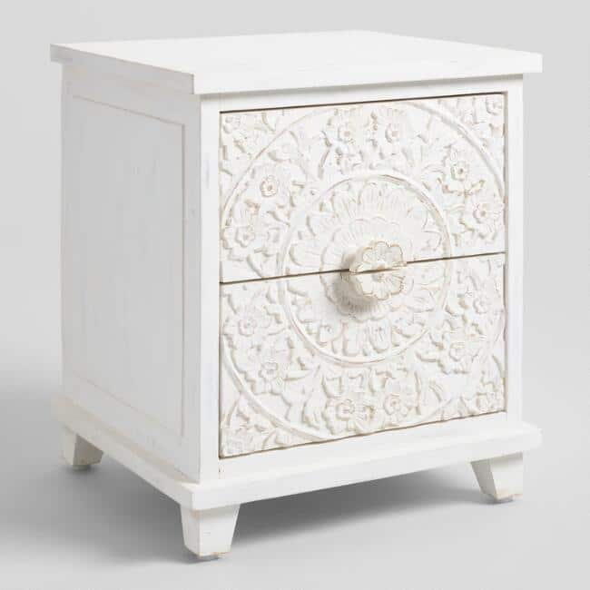 Whitewash Carved Zaria Nightstand