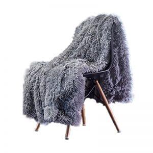 Chanasya Super Soft Long Throw Blanket - Solid Shaggy Slate Blue Gray