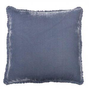 Indigo Velvet Ruffle Pillow from Rachel Ashwell