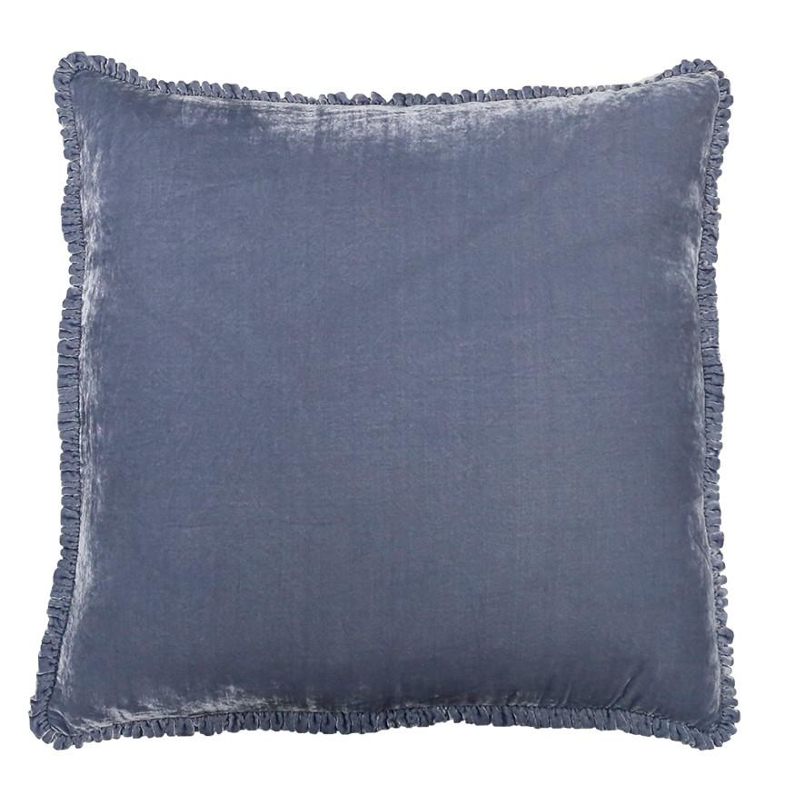 Indigo Velvet Ruffle Pillow from Rachel Ashwell