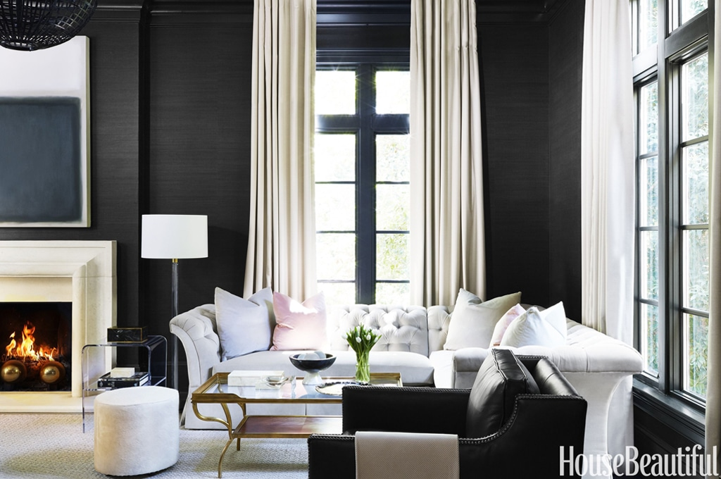 Black interior with white accents.