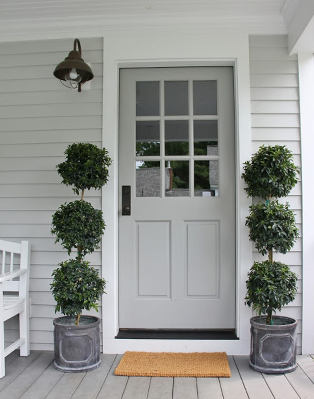 Colonial Revival Gray front door from Hen Hurst Blog