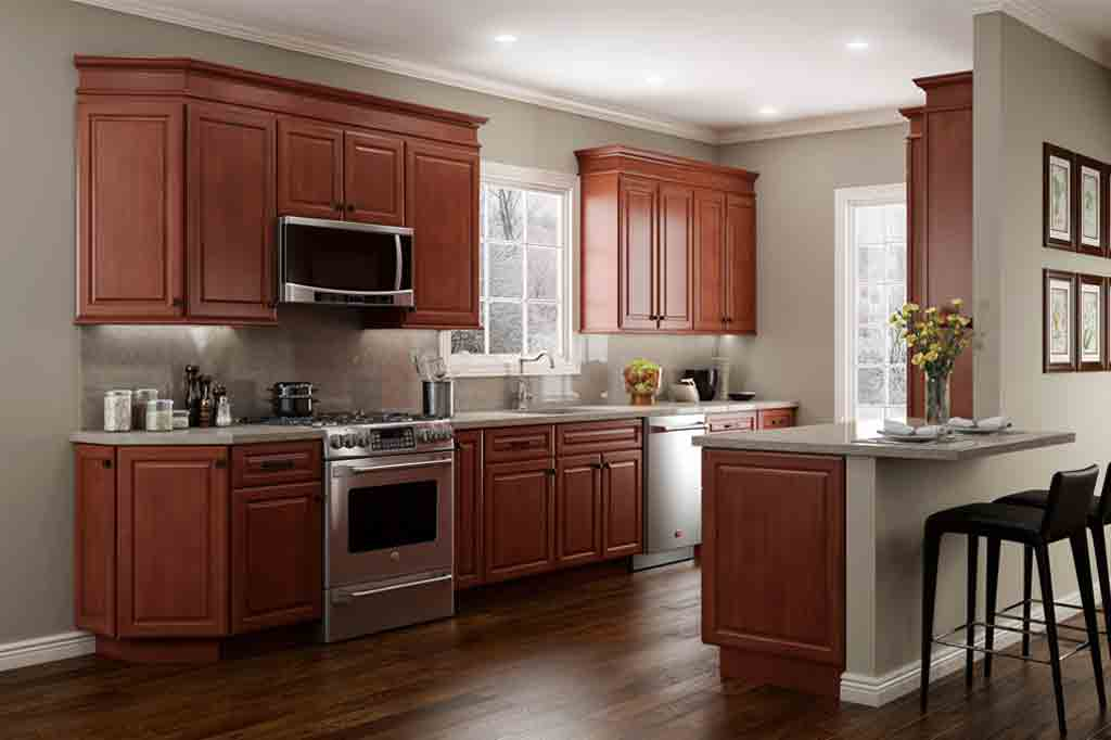 Cherry Stained Cabinets With Blue Gray Wall Color By Jsi Cabinetry