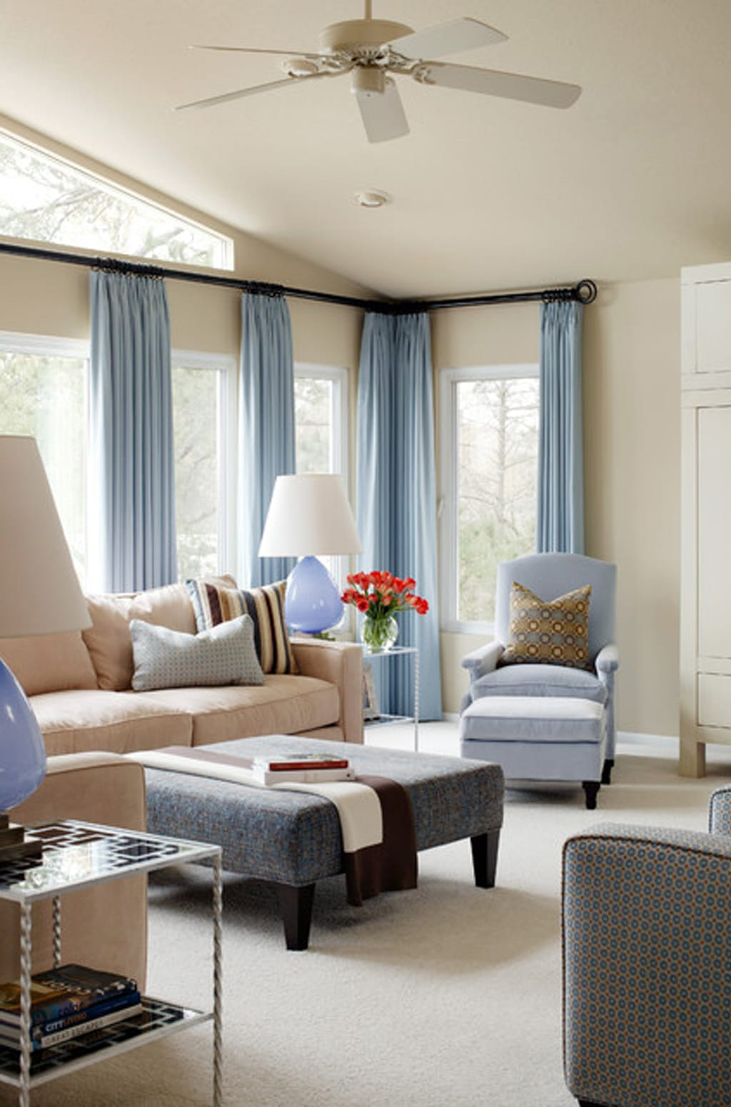 Wool Skein with blue drapes from Tobi Fairley Interior Design