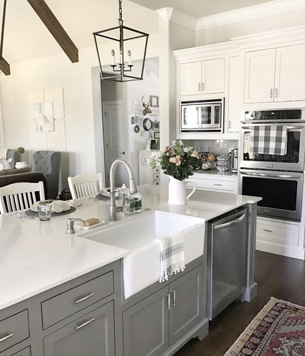 Gauntlet Gray on the kitchen island from Our Vintage Nest - 30 Cabinet Colors that will Rejuvenate your Kitchen