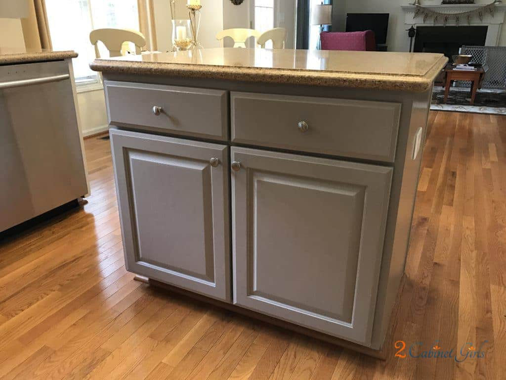 Mega Greige on the island cabinets by 2 Cabinet Girls - 30 Cabinet Colors that will Rejuvenate your Kitchen