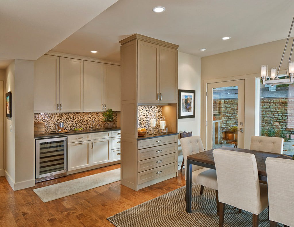 Navajo White on kitchen cabinets by Lyons Architect - 30 Cabinet Colors that will Rejuvenate your Kitchen