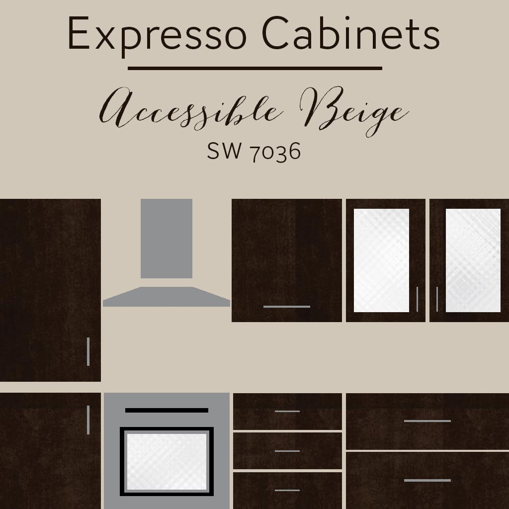 expresso cabinets accessible beige wall color - The Best Wall Colors To Update Stained Cabinets