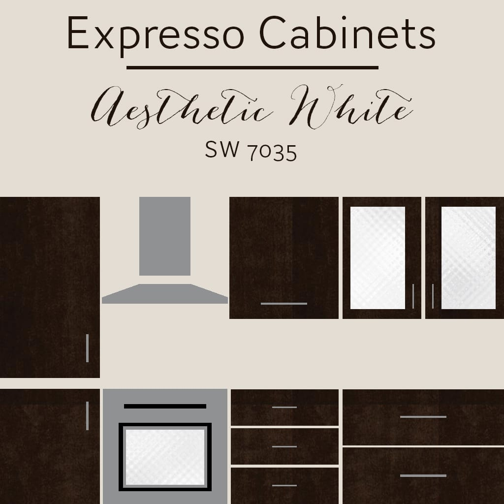 expresso cabinets aesthetic white wall color