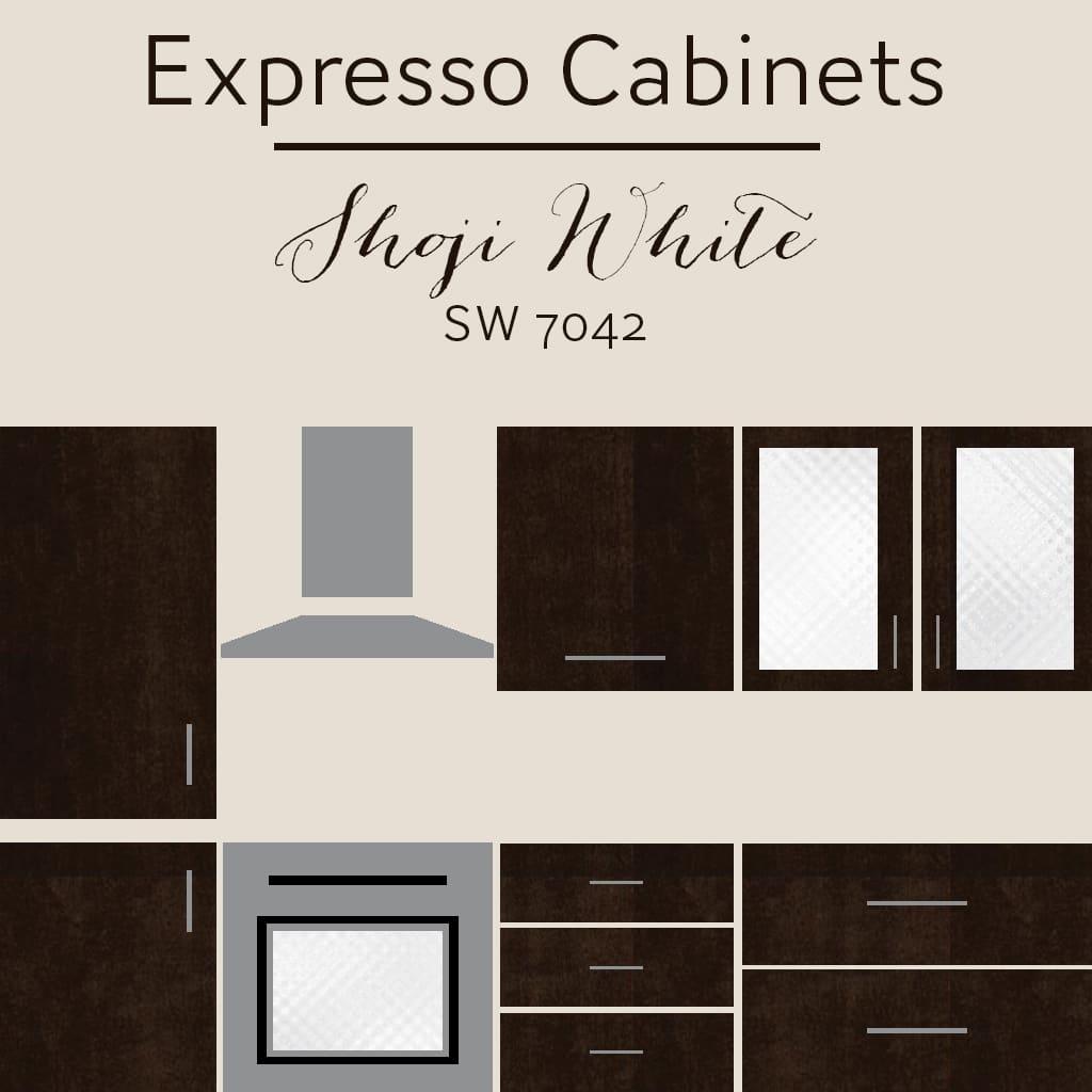 expresso cabinets shoji white wall color