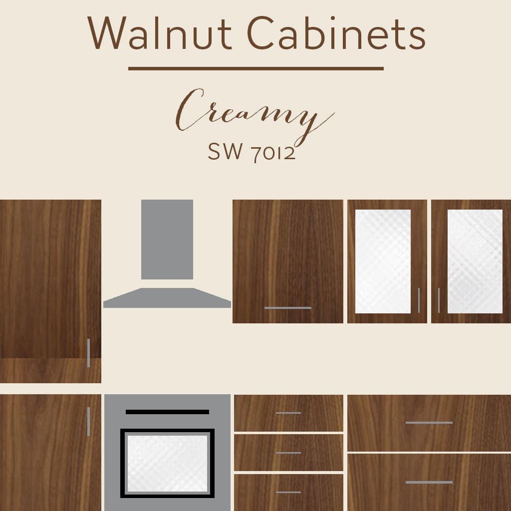 walnut cabinets creamy wall color