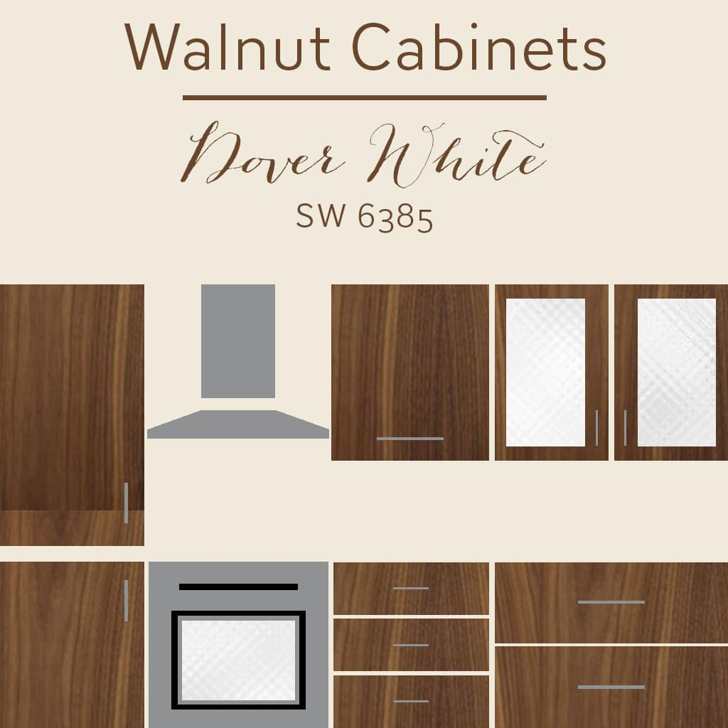 walnut cabinets dover white wall color