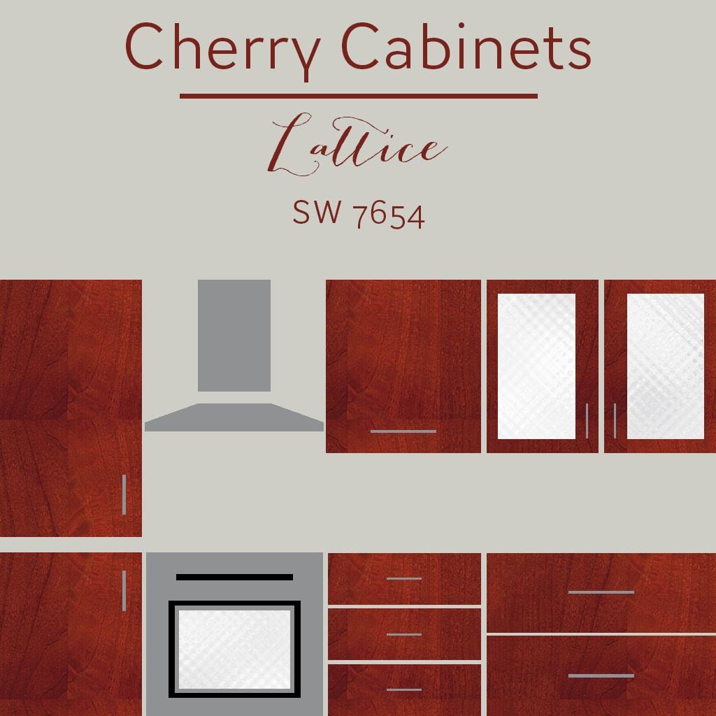 cherry cabinets lattice wall color
