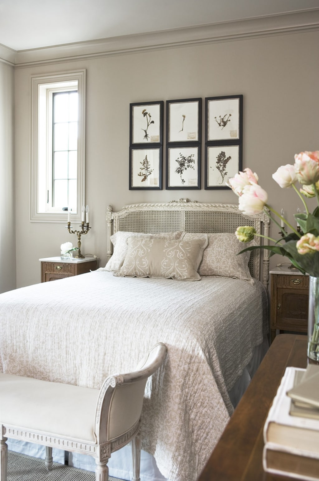 Anew Gray on walls and trim in a bedroom by Lisa McDougald Design. Rachael Boling Photography - Color Wheel Update: Anew Gray