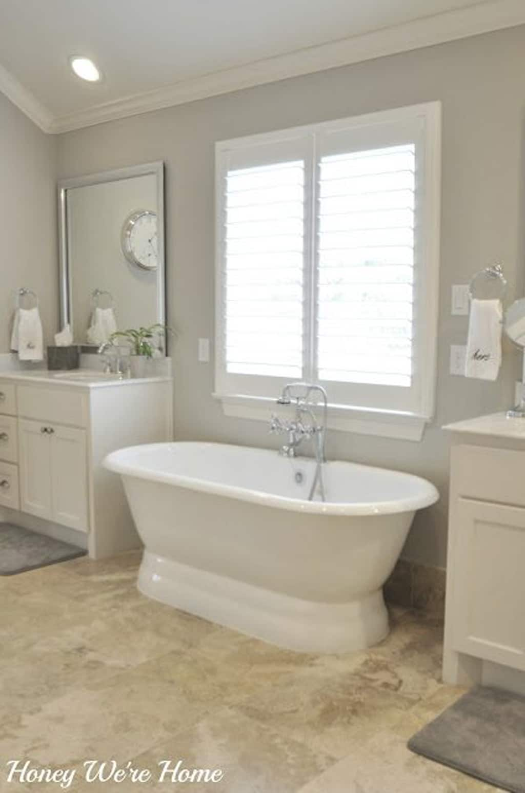 Master bathroom in Anew Gray from Honey Were Home Blog - Color Wheel Update: Anew Gray