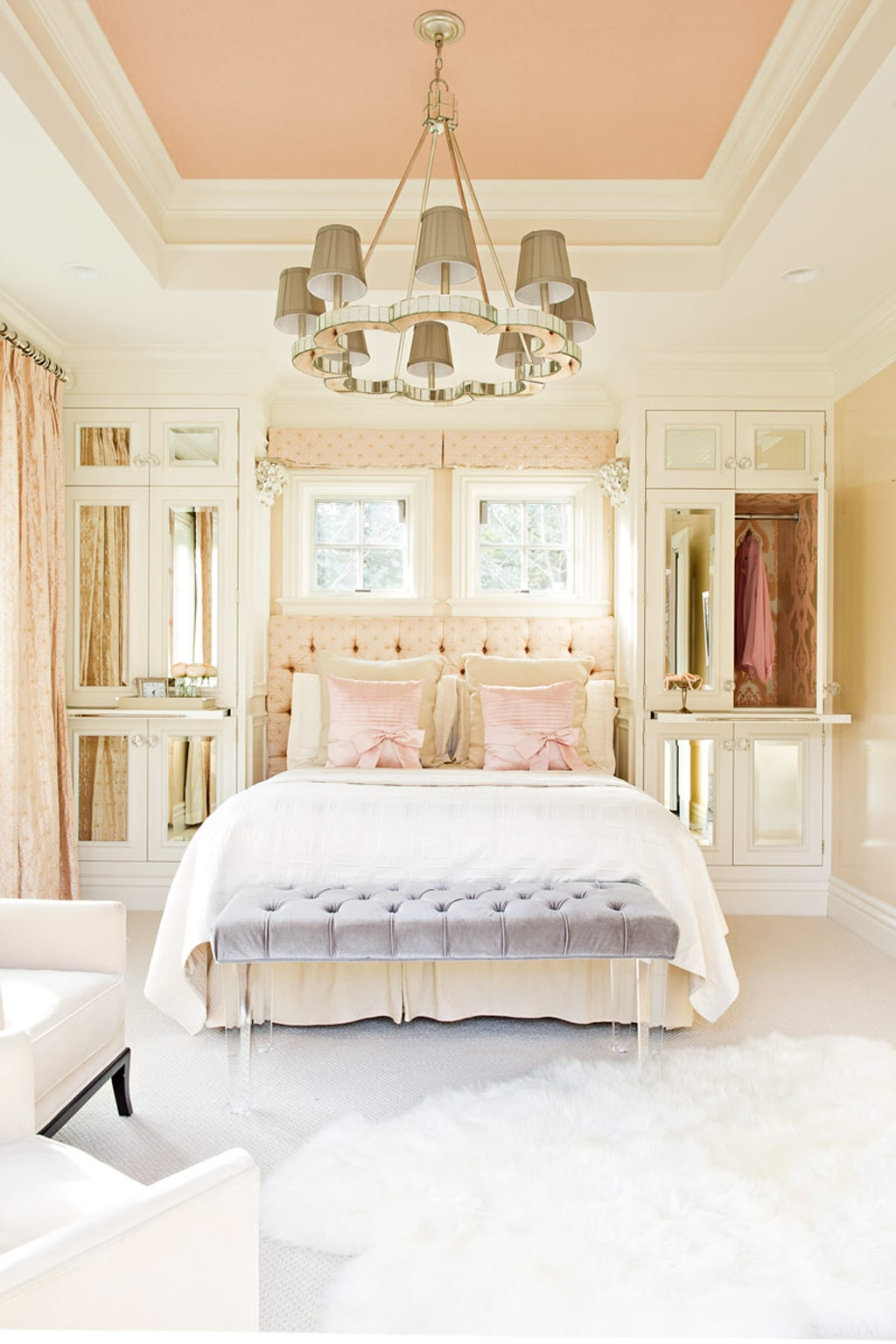 Neighborly Peach on the ceiling in master bedroom from Elizabeth Kimberly Design.