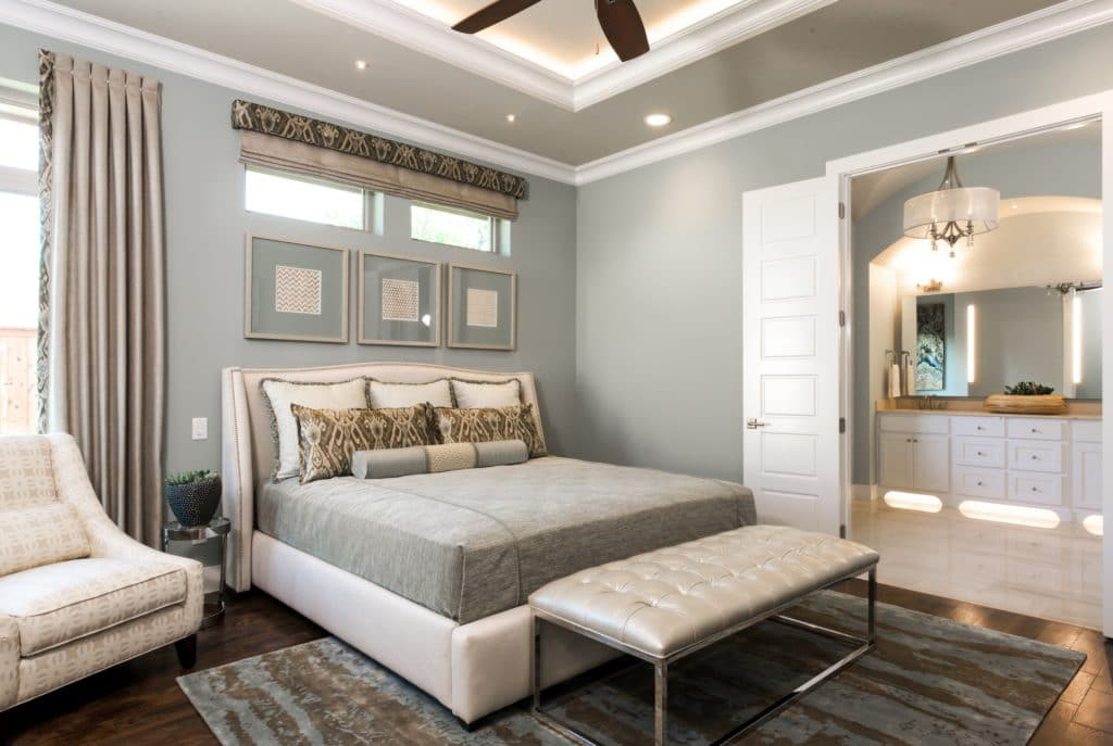 Oyster Bay in a master bedroom retreat by Sterling Brook Custom Homes