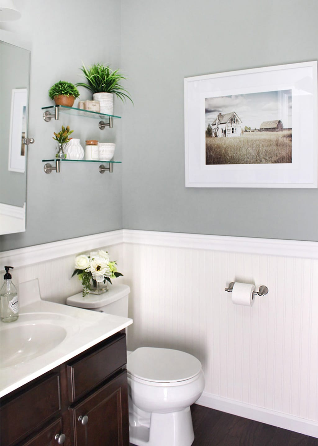Oyster Bay in a powder bath with white beadboard from How to Nest for Less