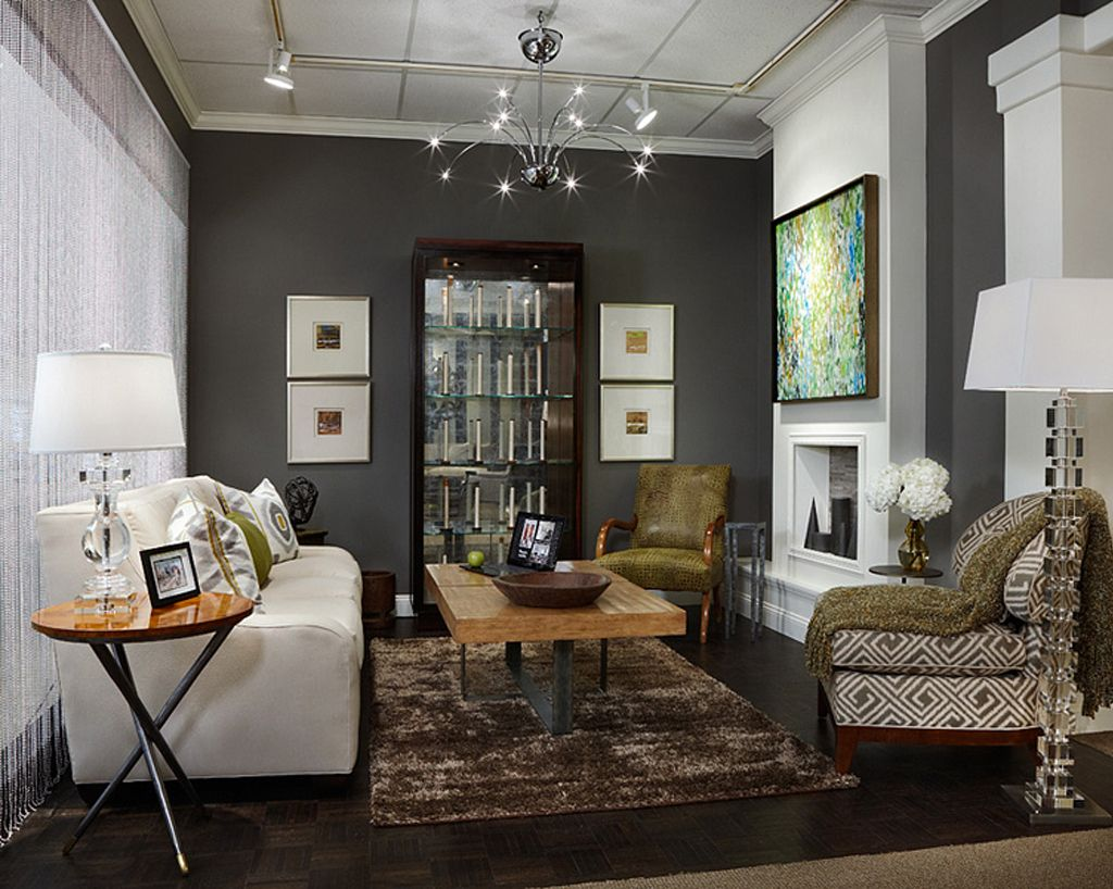 Gauntlet Gray In Living Room With Bright White Accents By Margeaux Interiors