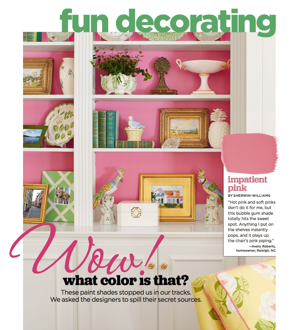 Impatient Pink as a shelf accent color by HGTV.
