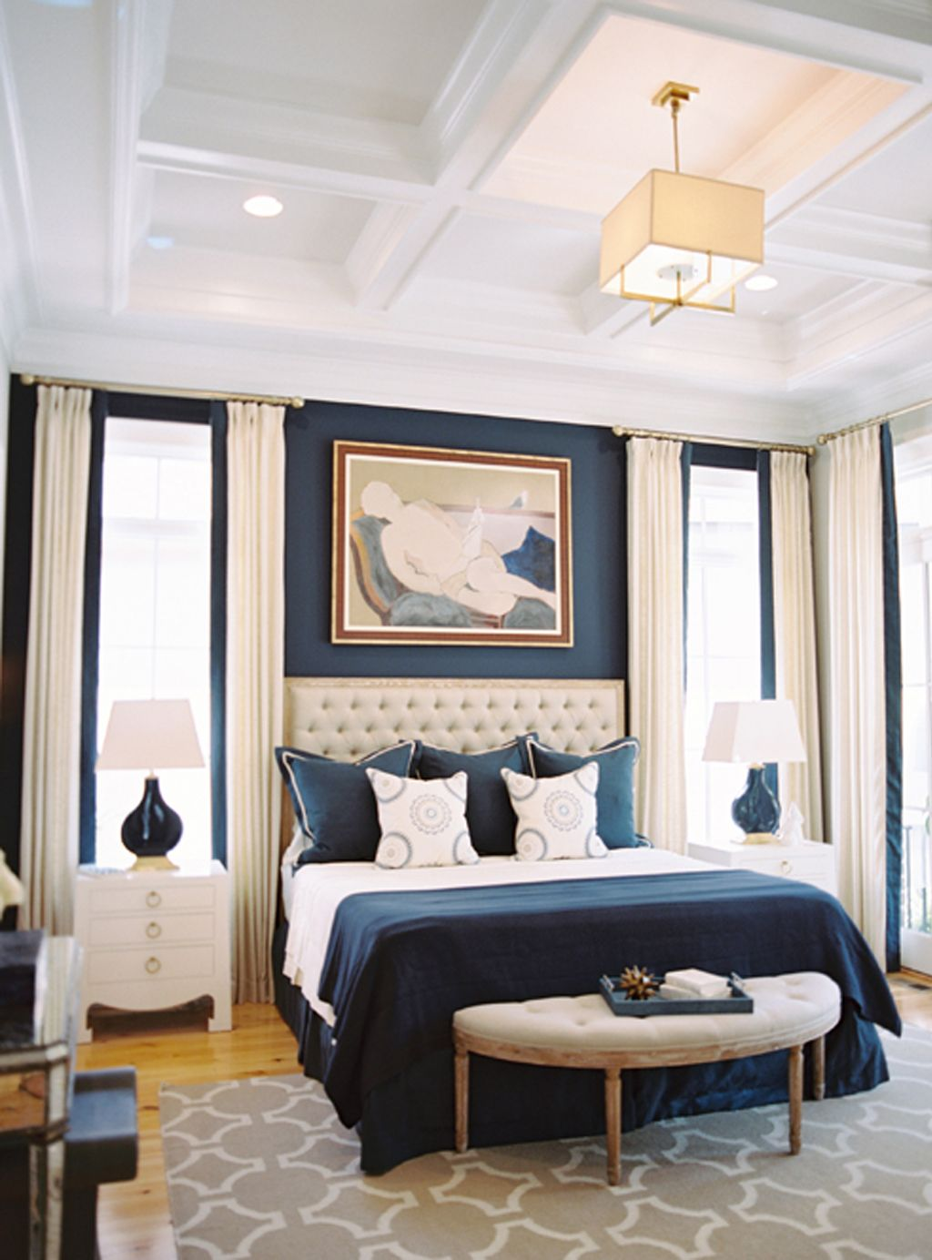 Naval as an accent wall in master bedroom by Steven Ford Interiors