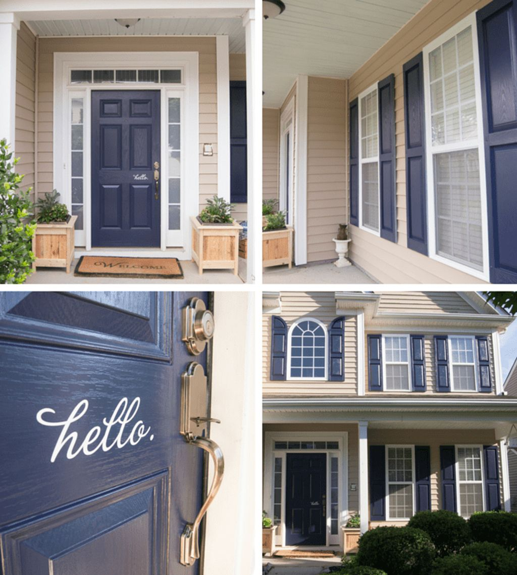 Naval on exterior front door and shutters by Whispering Whims
