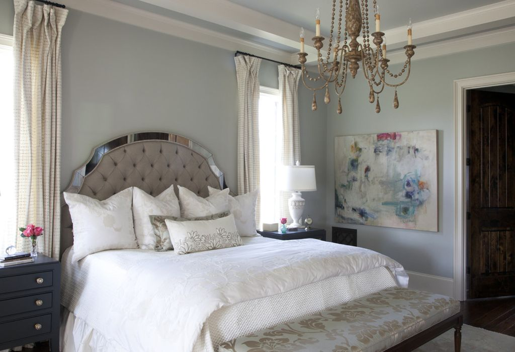Silver Strand in master bedroom by Julie Couch Interiors