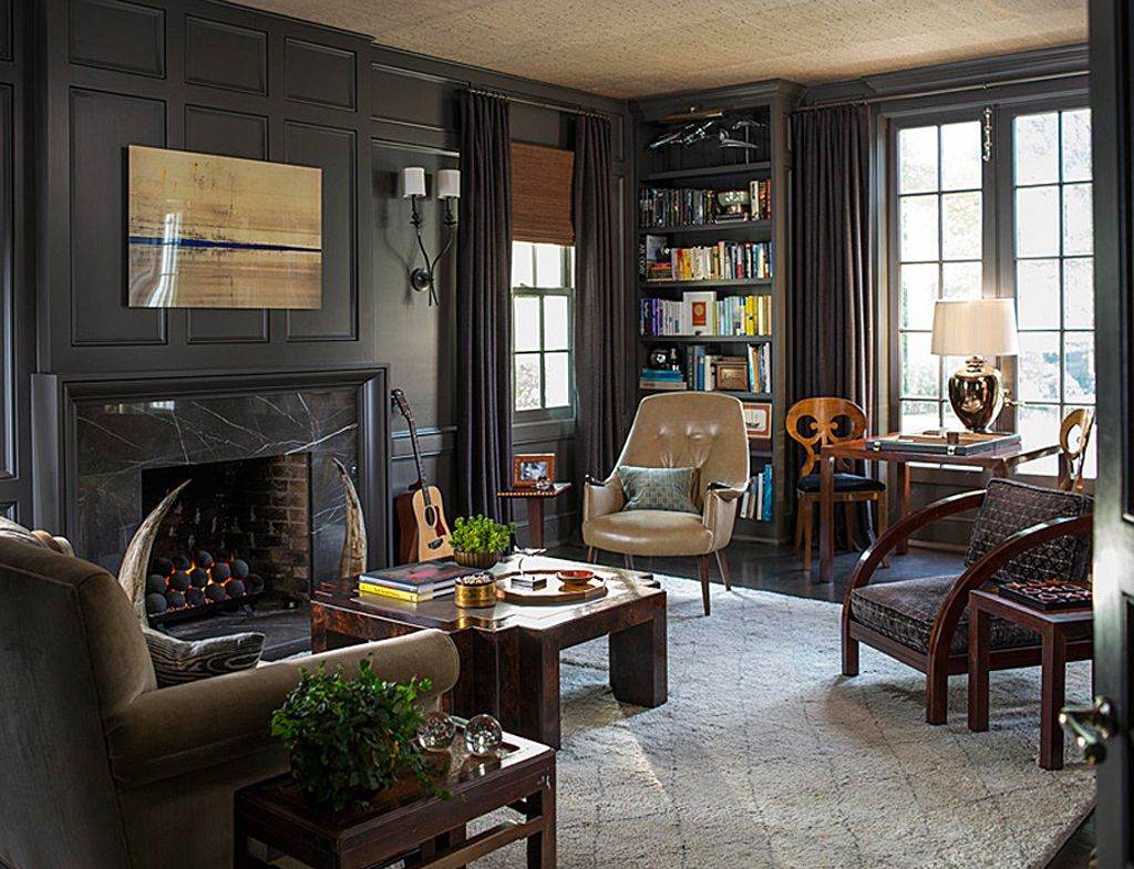 Study walls and trim painted in Black Fox by Traditional Home, Photography by John Bessler