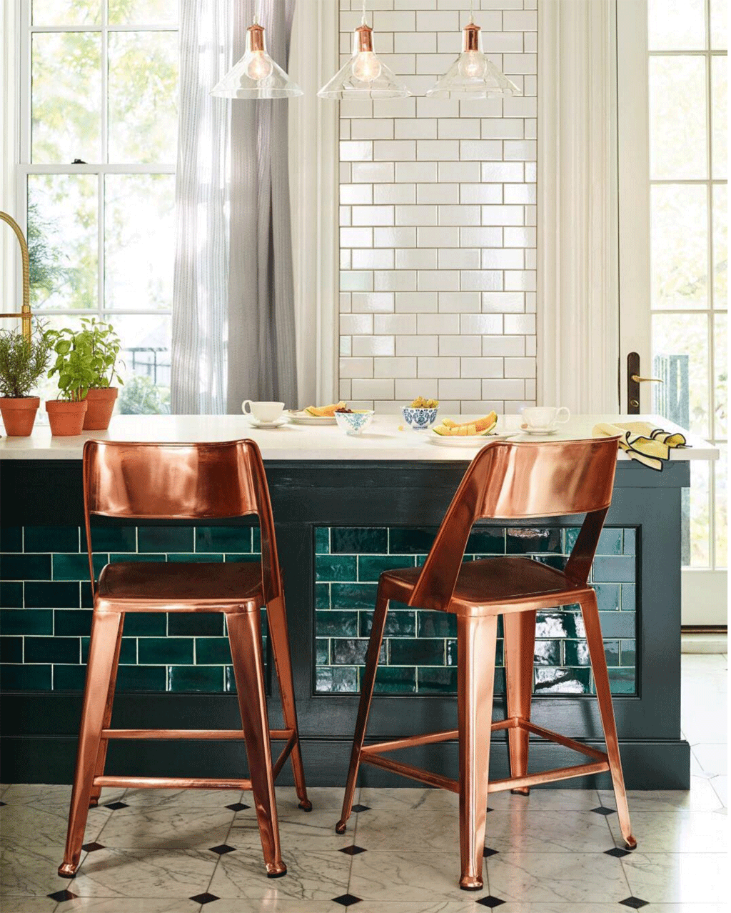 Teal and copper kitchen by Mercury Mosaics