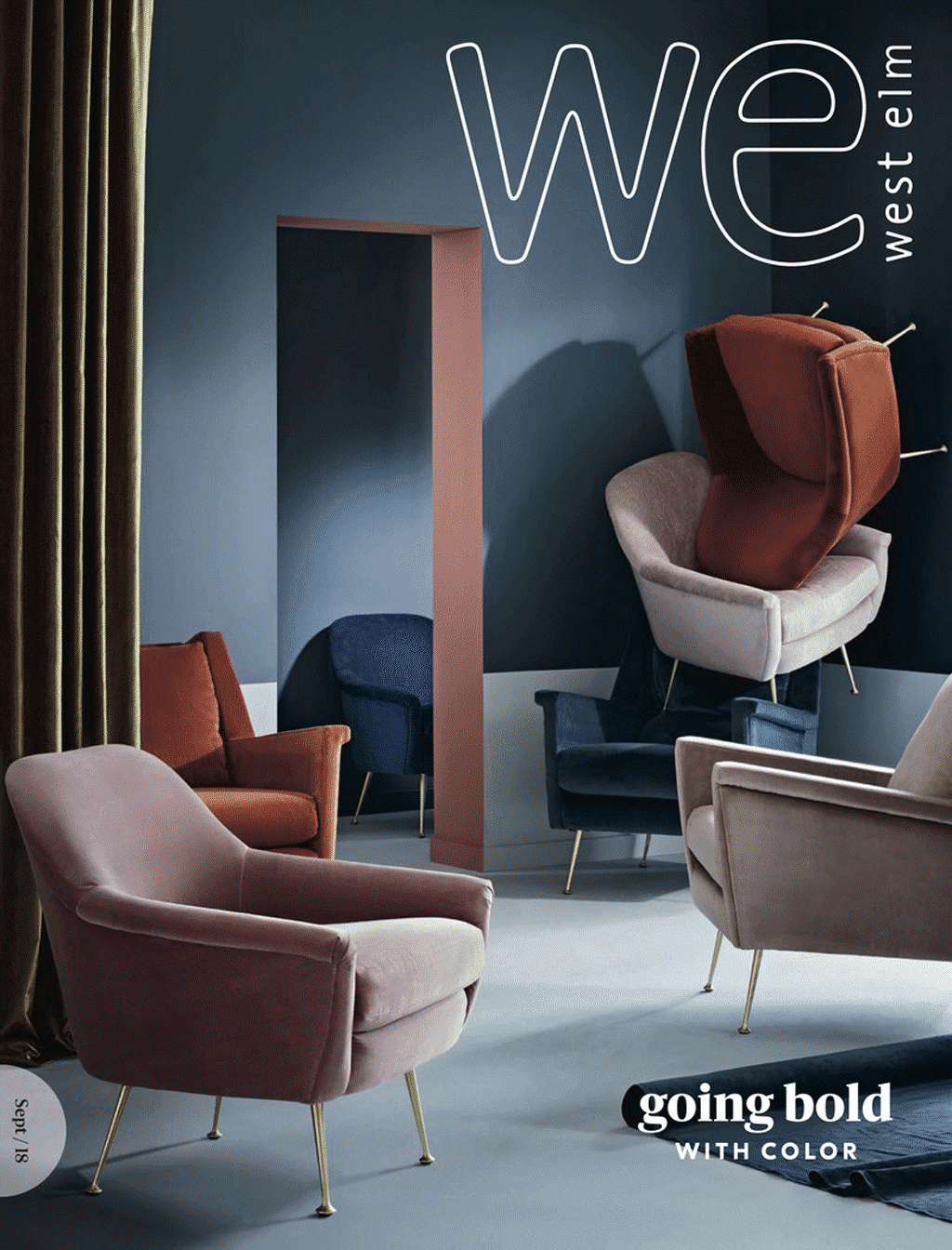 West Elm September 2018 catalog featuring copper/clay, teal and dusty rose colors for furniture and decor