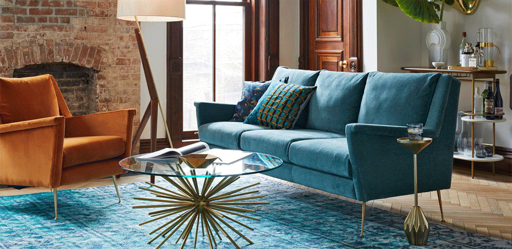 West Elm living room inspiration picture with copper and teal