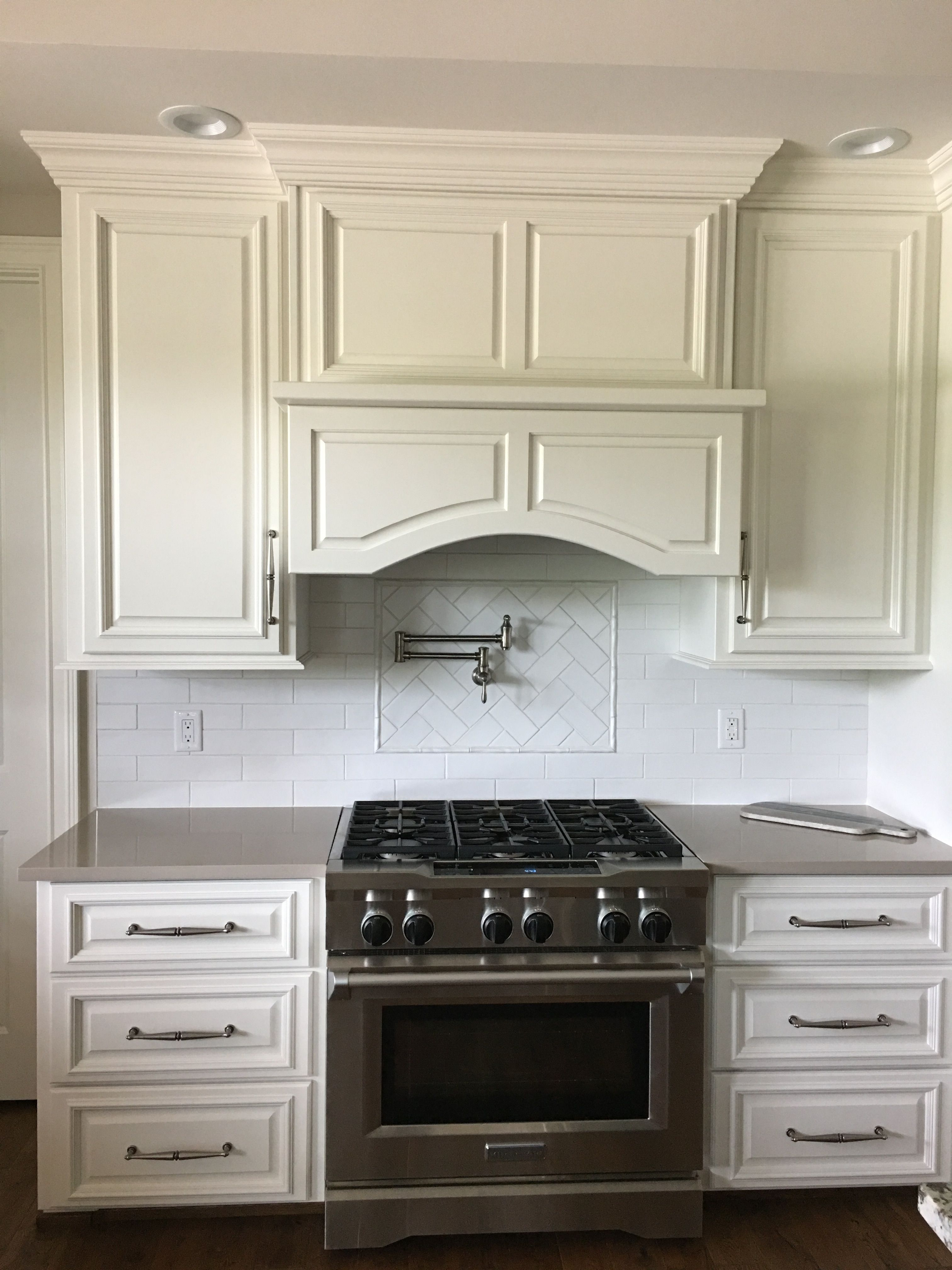 Accessible Beige SW 7036 with white subway tile backsplash