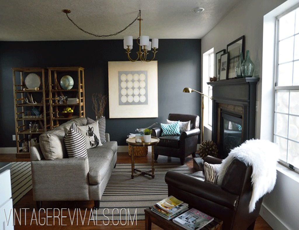 Charcoal Blue living room accent wall by Vintage Revivals