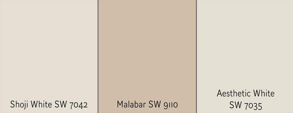 Exterior paint options Shoji White vs Malabar vs Aesthetic White