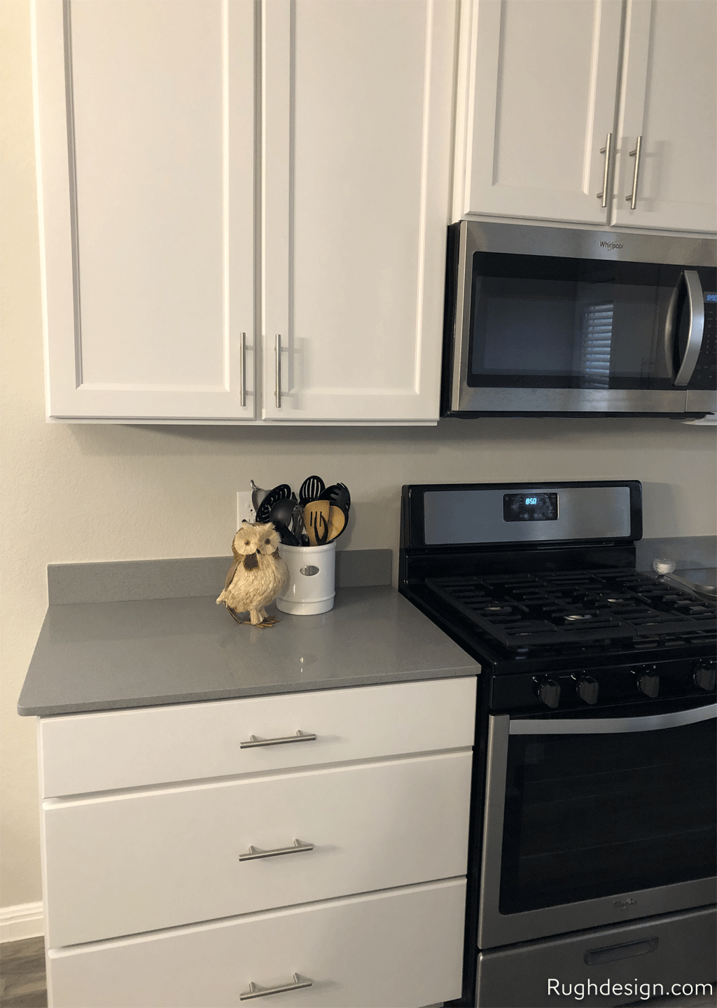 My White Kitchen Cabinets with Gray Countertops