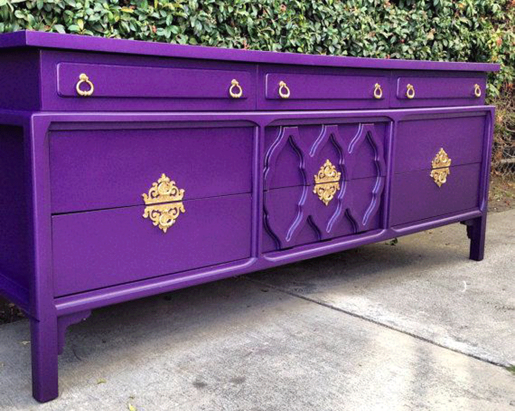 Purple Hollywood Regency Dresser that was sold on Etsy.