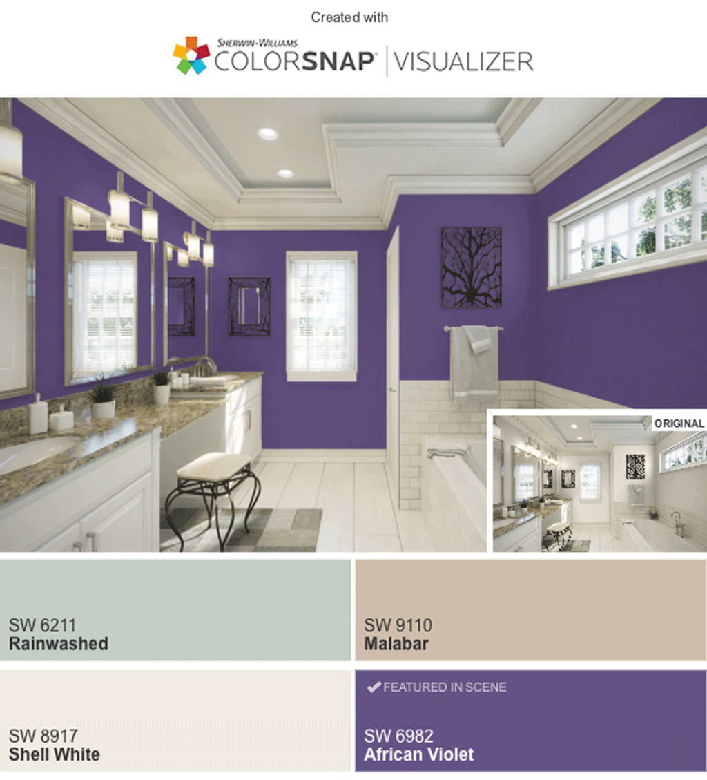 Bathroom in African Violet by SW Color Snap Visualizer