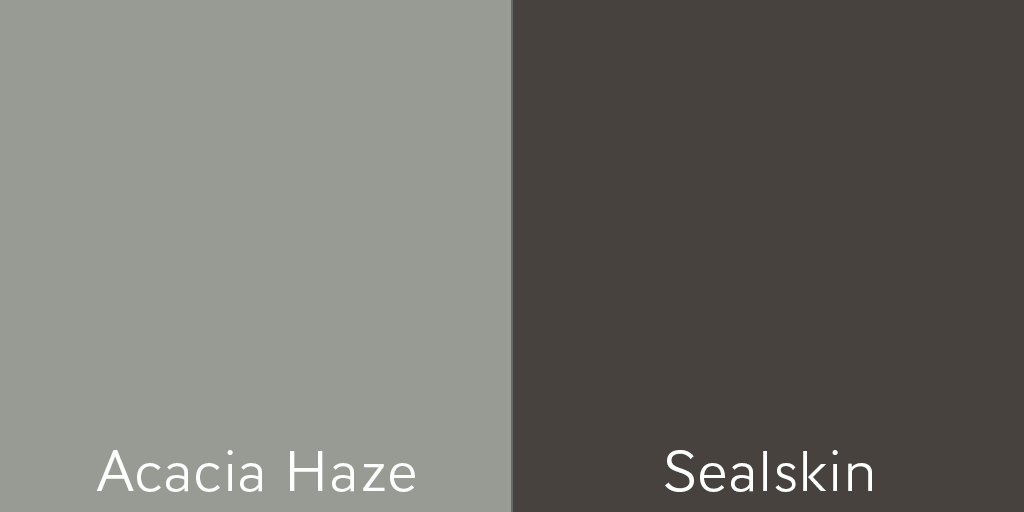 Add a pop of color to your laundry room door with Acacia Haze or Sealskin