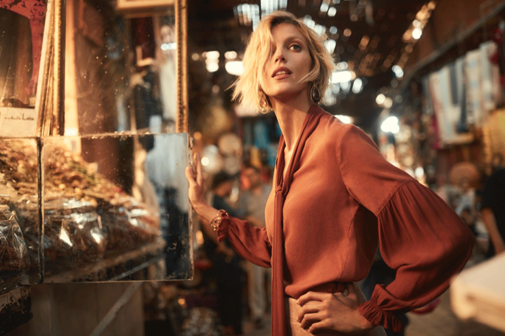 Anthropologie Fall 2018 Catalog model, Anja Rubik wearing copper colored blouse. Photo credit: Emma Tempest.