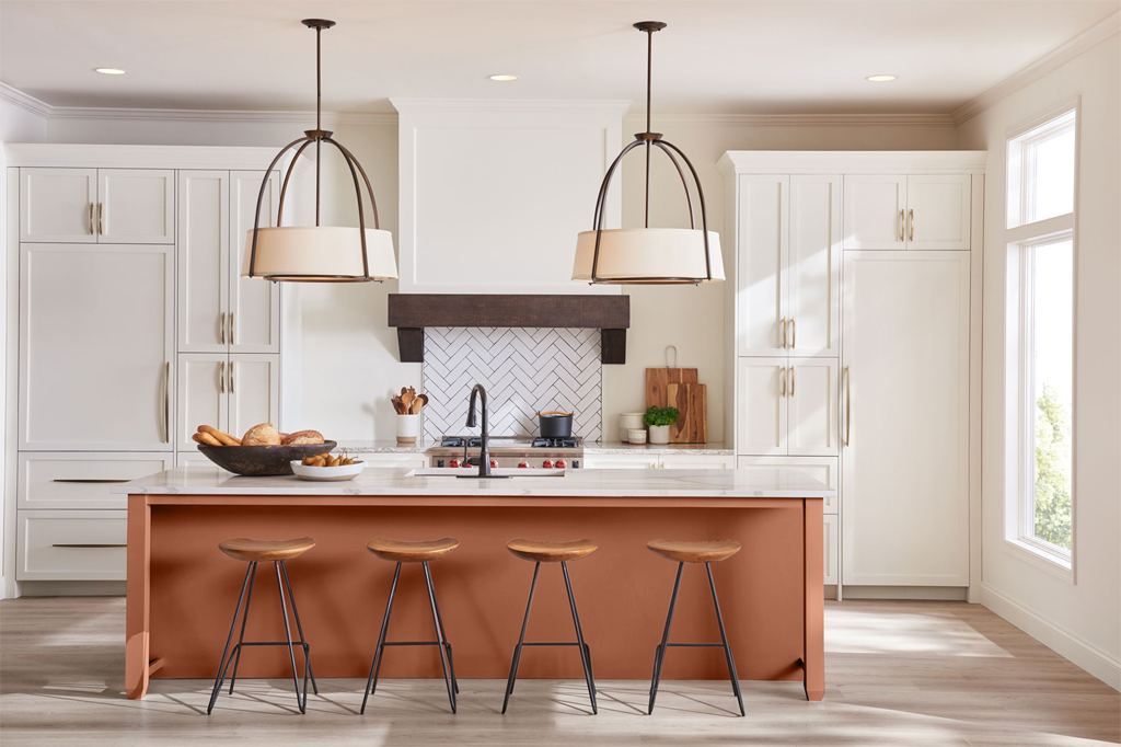 Kitchen Island Painted Cavern Clay by Sherwin-Williams