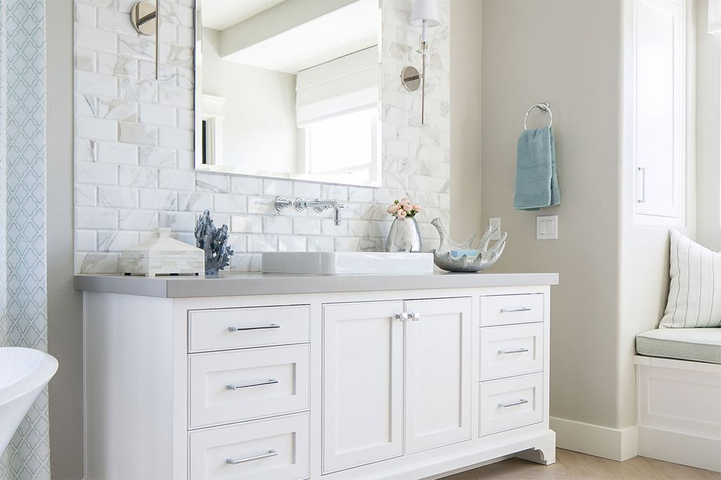 Bathroom in Agreeable Gray by Tracy Lynn Studio. Photography by Zack Benson Photography