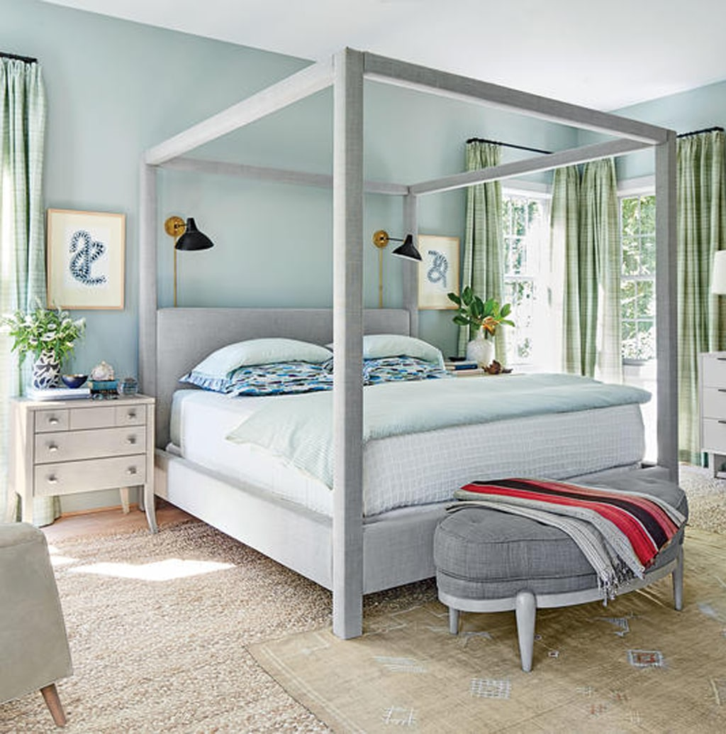 Tradewind in a master bedroom from Southern Living - Tradewind Color Review