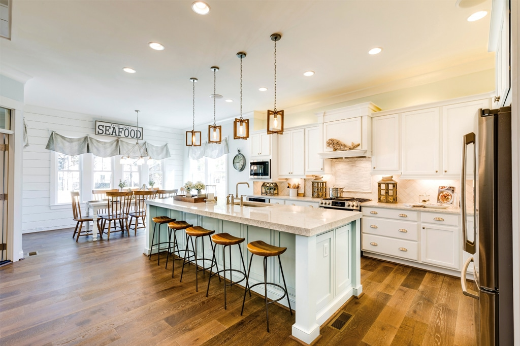 Kitchen Island painted in Tradewind by Susan Wilson Interiors Featured in Coastal Virginia Magazine - Tradewind Color Review