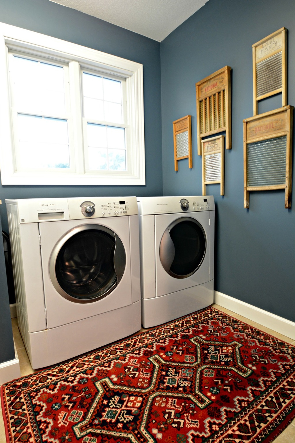 Laundry Room in Smoky Blue from Decor The Dog blog.